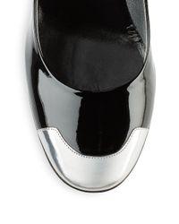 Roger Vivier Black Metallic & Patent Leather Pumps