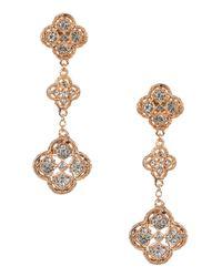 Jardin Metallic 18k Rose Gold Filigree Trefoil Dangle Earrings