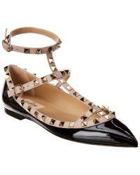 Valentino Garavani Black Rockstud Caged Patent Ballerina Flat