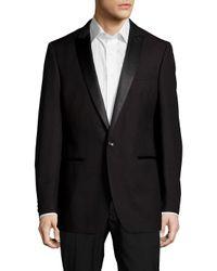 Calvin Klein Black Peak-lapel Wool One-button Jacket for men