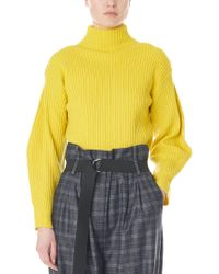 Tibi Yellow Structured Wool Pullover