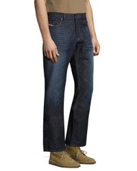 DIESEL Blue Waykee L.34 Straight Fit Cotton Jeans for men