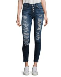 Hudson - Blue Ciara Distressed Super Skinny Jeans - Lyst