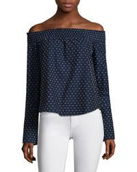 10 Crosby Derek Lam Blue Embroidered Off The Shoulder Cotton Top