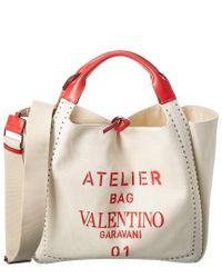 Valentino Garavani Red Atelier Bow Canvas & Leather Tote