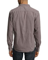 Jean Shop Brown Solid Two Chest-pocket Shirt for men