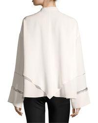 Derek Lam White Lace Inset Handkerchief Blouse