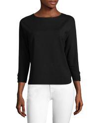 Three Dots - Black Curved Hem Sweater - Lyst