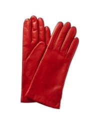 Portolano Red Cashmere-lined Leather Gloves