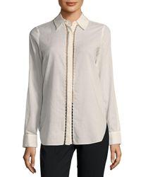 Haute Hippie Multicolor Chain Cotton Button-down Shirt