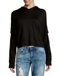 Project Social T - Black Ruched Hooded Sweater - Lyst