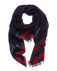 Gucci Blue Silk & Wool-blend Scarf for men