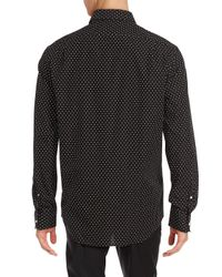 Ralph Lauren Purple Label Black Aston Dot Printed Cotton Shirt for men