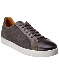 Magnanni Shoes Gray Elonso Leather & Canvas Sneaker for men