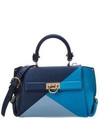 Ferragamo Blue Sofia Leather Top Handle Tote
