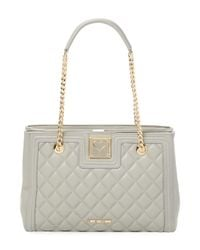 Love Moschino Gray Quilted Shoulder Bag
