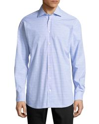 Luciano Barbera Blue Horizontal Stripe Sportshirt for men