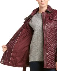 Cole Haan Red Leather-trim Quilted Coat