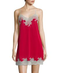 Natori - Red Enchant Lace Trimmed Chemise - Lyst