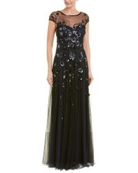 THEIA Blue Floral Vine Beaded Tulle Cap-sleeve Gown