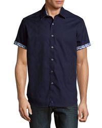 Robert Graham Blue House Of Fun Spread Collar Cotton Polo for men
