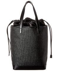 Saint Laurent Black Teddy Raffia Leather Shopping Tote