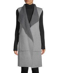 SOIA & KYO Gray Turndown Sleeveless Coat