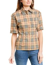 Burberry Brown Vintage Check Stretch Shirt