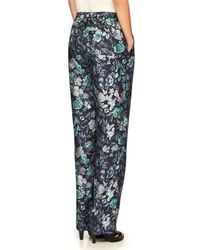 Burberry Blue Floral-print Mulberry Silk Trousers