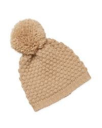 Portolano Natural Ribbed Pom Hat