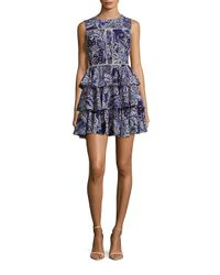Cynthia Rowley Blue Ruffled Paisley Fit & Flare Dress