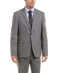Ike Behar Gray Omega Slim Fit Wool-blend Suit With Flat Pant for men