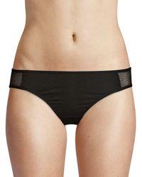 Skin Organic Black Mesh-trimmed Bikini Panty
