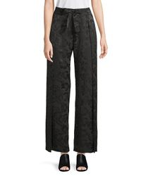 VEDA Black Floral Silk Wide-leg Pants