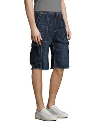 True Religion - Blue Cargo Cut-off Big T Denim Shorts for Men - Lyst