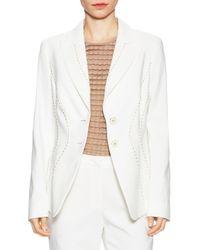 ESCADA White Cotton Embellished Jacket