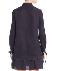 3.1 Phillip Lim Blue Staple-detail Cotton Shirtdress