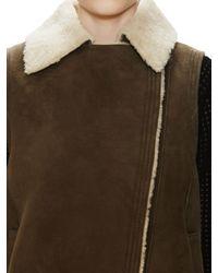 Vince Green Asymmetrical Shearling Vest