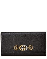Gucci Black Zumi Grainy Leather Continental Wallet
