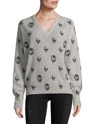 Skull Cashmere Gray V-neck Skull Print Sweater