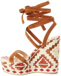 Gianvito Rossi Natural Embroidered Canvas & Suede Wedge Sandal