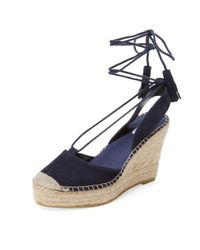 Elorie - Blue Leather Ankle-wrap Wedge - Lyst