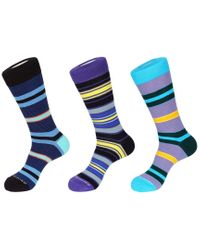 Unsimply Stitched Blue Set Of 3 Crew Sock for men