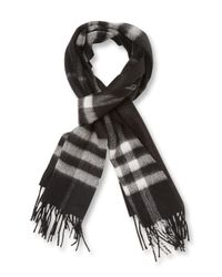 Burberry Black Rectangular Cashmere Scarf