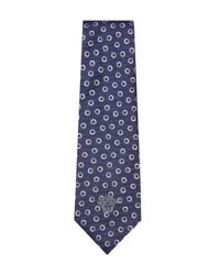 Versace - Blue Silk Embroidered Circles Tie for Men - Lyst