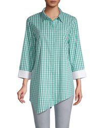 Lafayette 148 New York Blue Rosamund Gingham Button-front Shirt