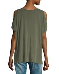 Love Scarlett - Green Novelty Button Band Cold-shoulder Top - Lyst