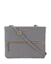 Gigi New York Gray Python-embossed Leather Crossbody Bag
