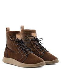 Giuseppe Zanotti Stretch velvet high-top sneaker CESAR in Natural für Herren