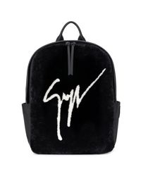 Shearling fur backpack with Signature CYRIL Giuseppe Zanotti de hombre de color Black